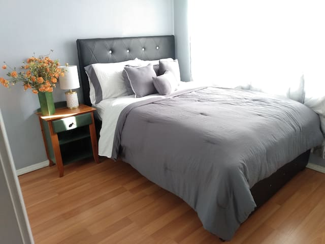 Second bedroom with queen bed and closet