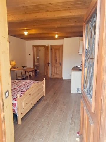 Secondo ingresso (separato) allo studio/monolocale : camera matrimoniale, bagno, cucina, tavolo e televisore.