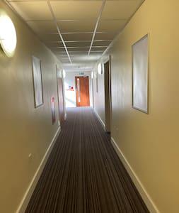 Corridors leading to the flat
