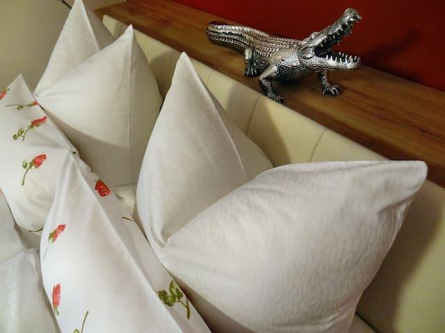 Ferienwohnung Bad Schallerbach - Fam. Schweitzer:  Schlafzimmer 20m² (rot) mit Doppelbett