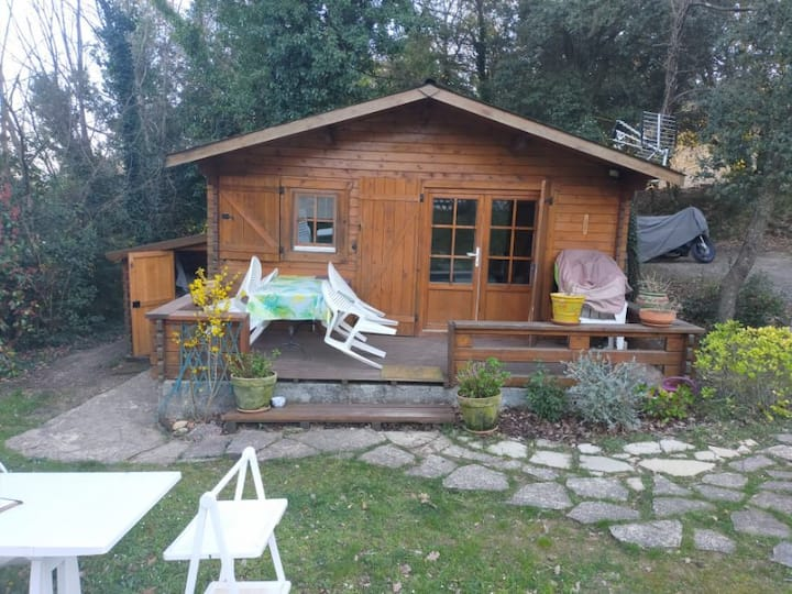 Chalet privatif, pool house, piscine, camping