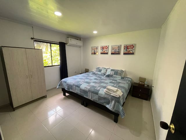 Bedroom. Beds can be separated into 2 double beds.