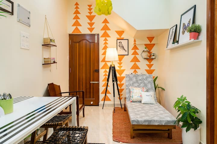Jungalow Living-1BHK in Auroville Main Rd(3guests)