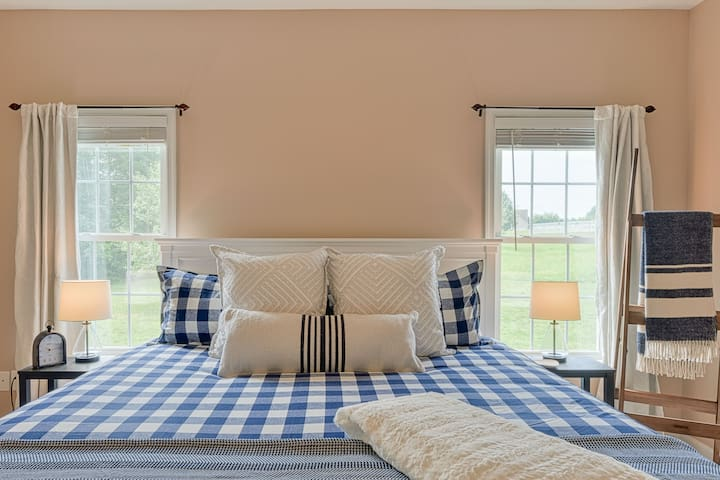 Master bedroom features king-sized bed