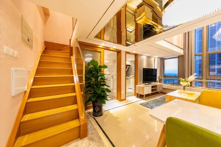 【城遇漫步】豪华两室一厅复式商务家庭房