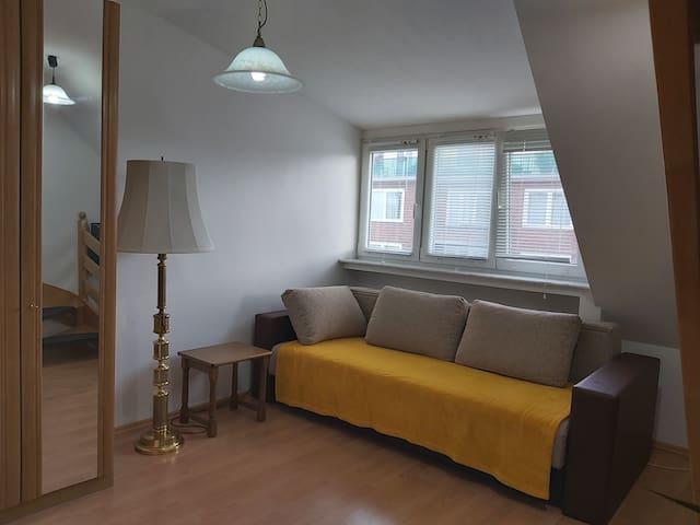 Wohnzimmer mit großer Schlaffsofa