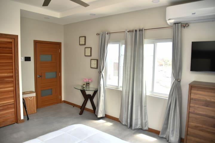 Bedroom with open curtains