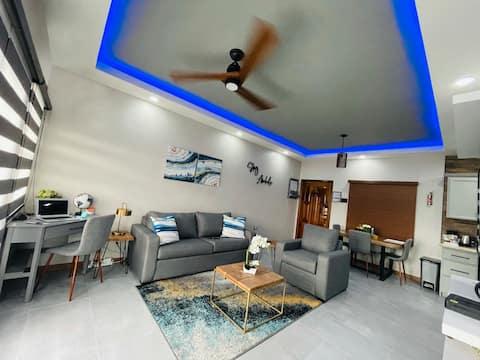 Apartamento moderno de 1 quarto com 2 camas