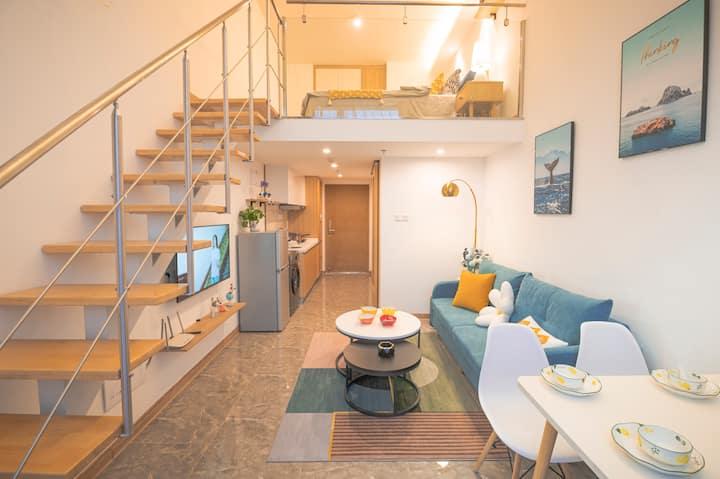 【听波小筑】Loft公寓大床房,近国际会展中心、滇池