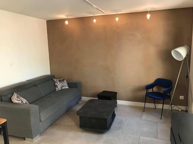 Salon avec canapé lit convertible