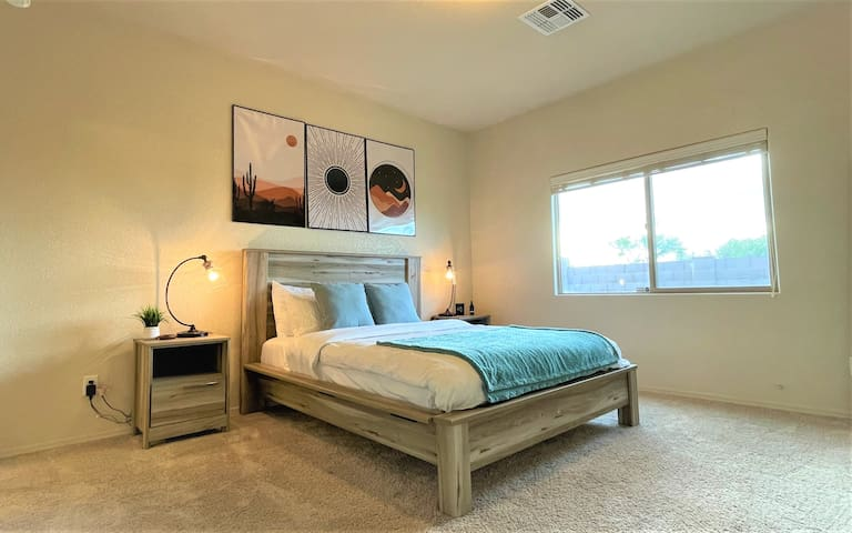Master bedroom with comfortable and cozy environment. One can fully enjoy deep, restful sleep here with very comfortable mattress.  The room is full of natural light and has a mountain view out the window!