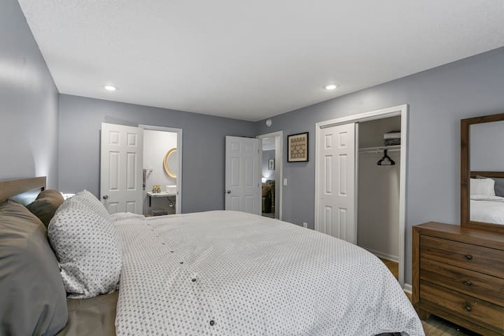 Master Bedroom with King Size Bed and Private Bath