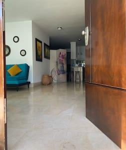 Veloplyst sti til indgangen