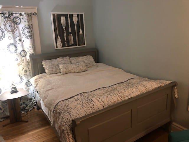 Main floor bedroom.  Queen sized bed.