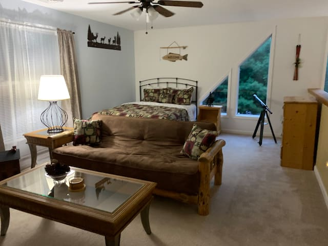 Loft with queen size bed, dresser and full size futon.