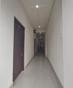 Corridor and entrances to the guest rooms are well lit