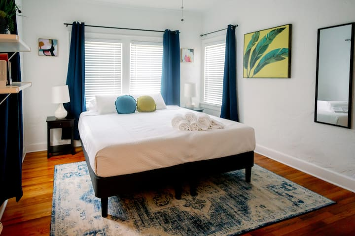 The second bedroom can be set as EITHER one (1) king bed OR two (2) twin beds. King bed setup shown here.