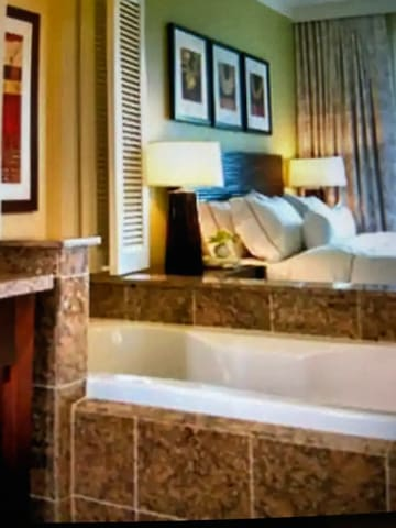 Spa tub and bedroom
