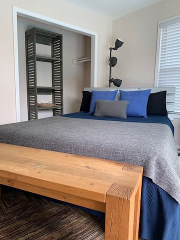 Queen bed and closet