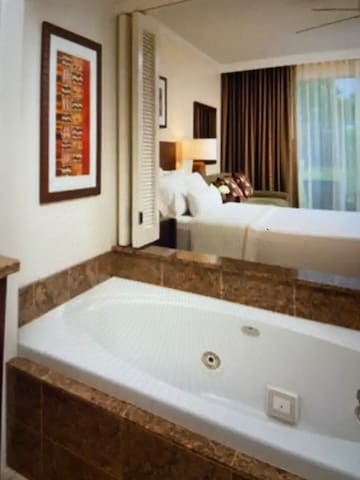 Spa tub, King size bed and sofa bed
