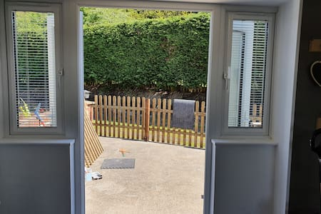 double French doors are the entrance and exit.