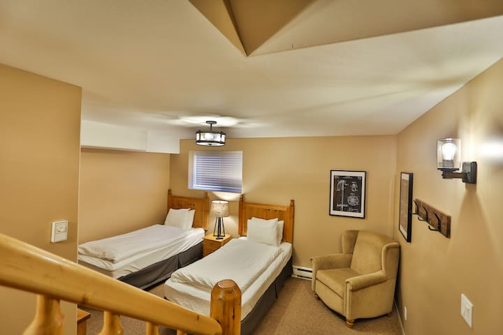 Downstairs bedroom with 2 Single beds and in-suite laundry