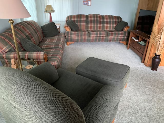 Living room with 2 couches.