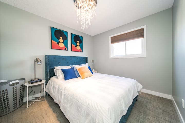 Even the bedrooms on the lower levels are bright and airy.
