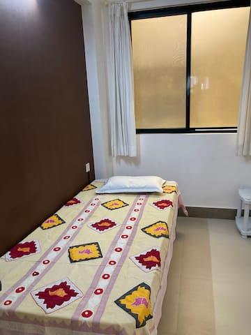 Bedroom. Single bed with memory foam mattress.