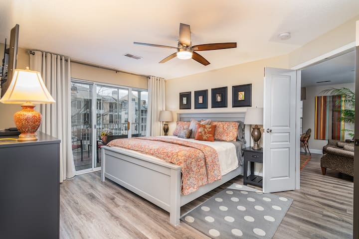 This master bedroom has it all!  King size comfort, a private ensuite bathroom, and personal access to the condo deck!