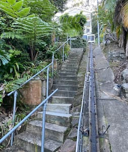 There are Step up to the property if you choose to take them, but we have a lift that runs next to them which is the easiest way up to the property