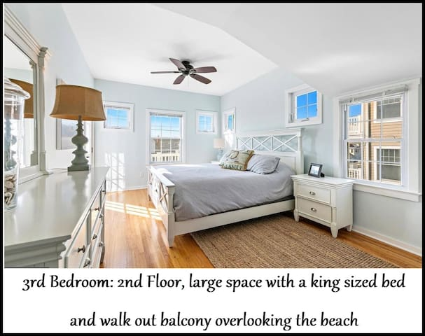 Bedroom #3 of 5 - King Bed - 2nd Floor with walk out balcony and beach view