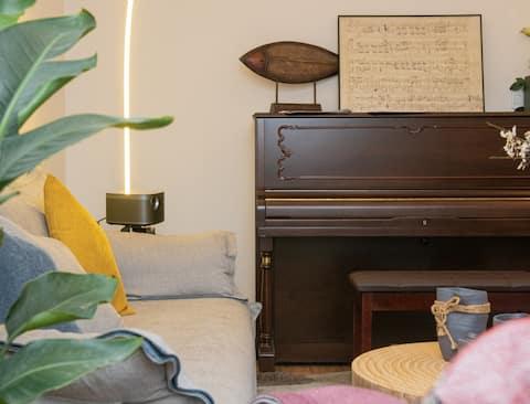【知音溯】钢琴民宿/影院级3D投影/好吃街100米旁嘉兴路丶新广场绿心公园。