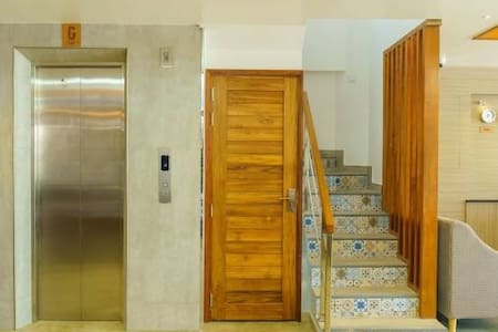 we have elevator to enter all the floors except suite we have stairs .