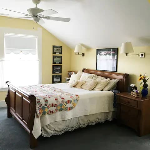 Sunflower Suite Queen bed and with private bath.