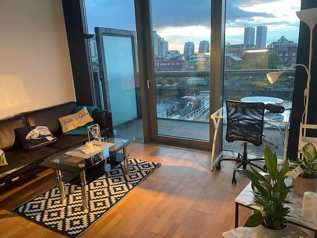 Living area- lounge, work space, cozy deco