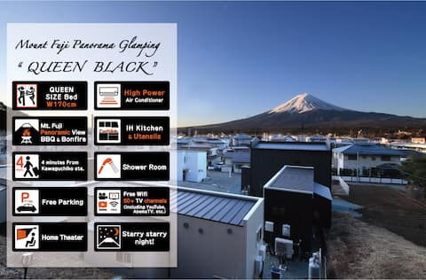 Glamping trailer with views of Mt. Fuji from the finest Sata Queen Bed & View Deck Queen-Black