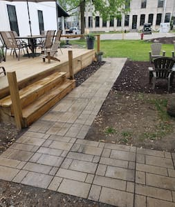 """36"""" wide paver walkway leads from driveway to accessible ramp."""