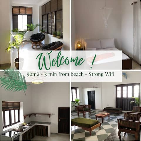 90m2 apartment - 3min from beach - strong Wifi