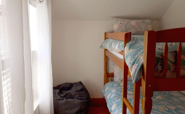Bunk beds and bean bag