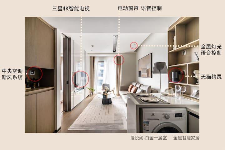 全屋智能家居,一回到家就可以通过天猫精灵控制房间内灯光和家电开关,解放双手,告别传统模式~
