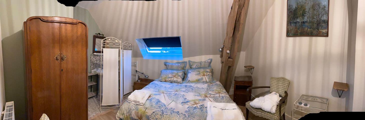 """Chambre """"Lis du Nil""""  16.50 m2 avec douche lavabo. Wc sur le palier pour cette chambre"""