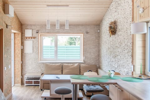 A bright two-bedroom house with a garden
