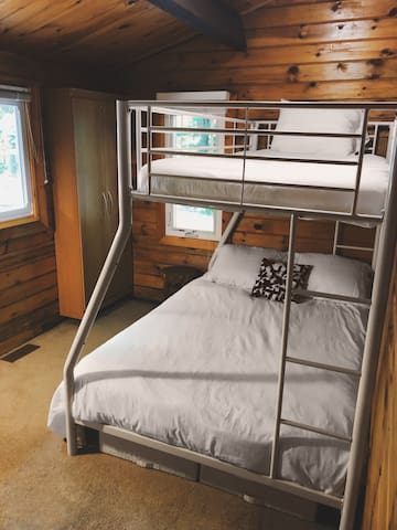Single over double bunk bed.