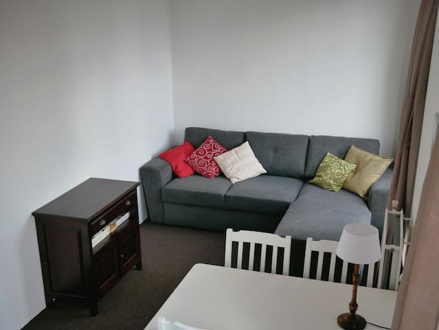 Folding sleeping couch for two 155cm x 195cm (bed linen and pillows are under the sofa)