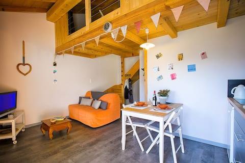 Petit logement cosy face aux montagnes