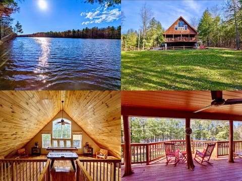 Custom waterfront home situated on 2 quiet acres!