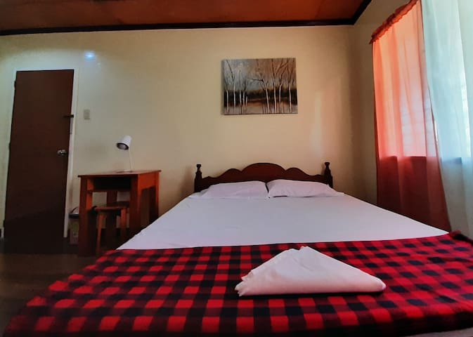 Room 1. King size bed with working table, dedicated toilet/bath.