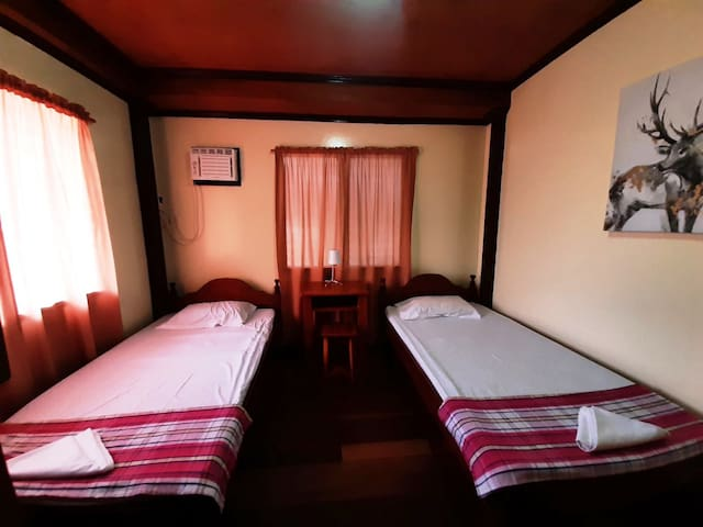 Room 3. Two single beds, with working table and dedicated toilet/bath.