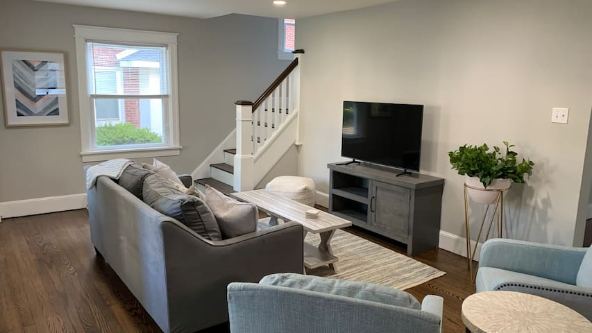 End the day in this cozy living room with a 50 inch smart tv and cable tv.  You can connect all of you devices to the lighting fast 1 Gig internet!